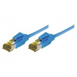 Cordon patch RJ45 S/FTP CAT 6a LSOH Snagless Bleu 1 mètre