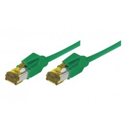 Cordon patch RJ45 S/FTP CAT 6a LSOH Snagless vert 1 mètre