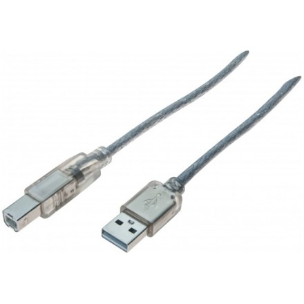 Cordon conforme USB 2.0 Hi-Speed de type A / B mâle transparent de 3 mètres