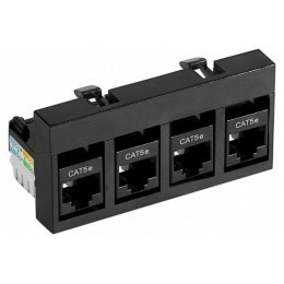 Support 4 RJ45 CAT 5 UTP  équipé