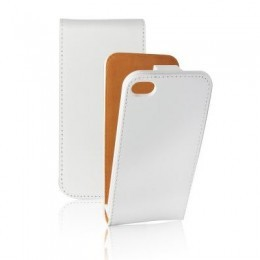 Etui Slim iPhone 4G/4S Vertical Blanc en cuir